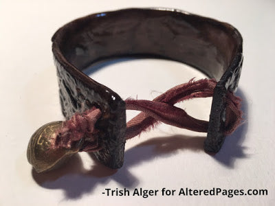 leather look polymer clay bracelet with modena soft clay