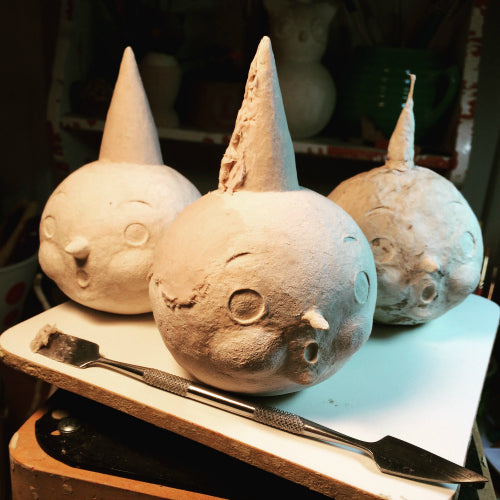 Before receiving their finishing details, Johanna Parker uses CelluClay to sculpt truly original pumpkin sculptures for Halloween.