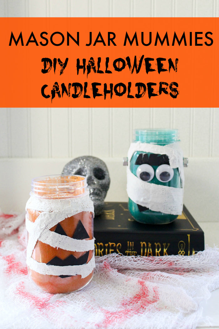 What a fun Halloween craft project!  Use colored sand to fill mason jars and Rigid Wrap plaster cloth to wrap them like mummies!  You'll make adorable DIY Halloween Candleholders in no time!  #halloweencrafts #sandart
