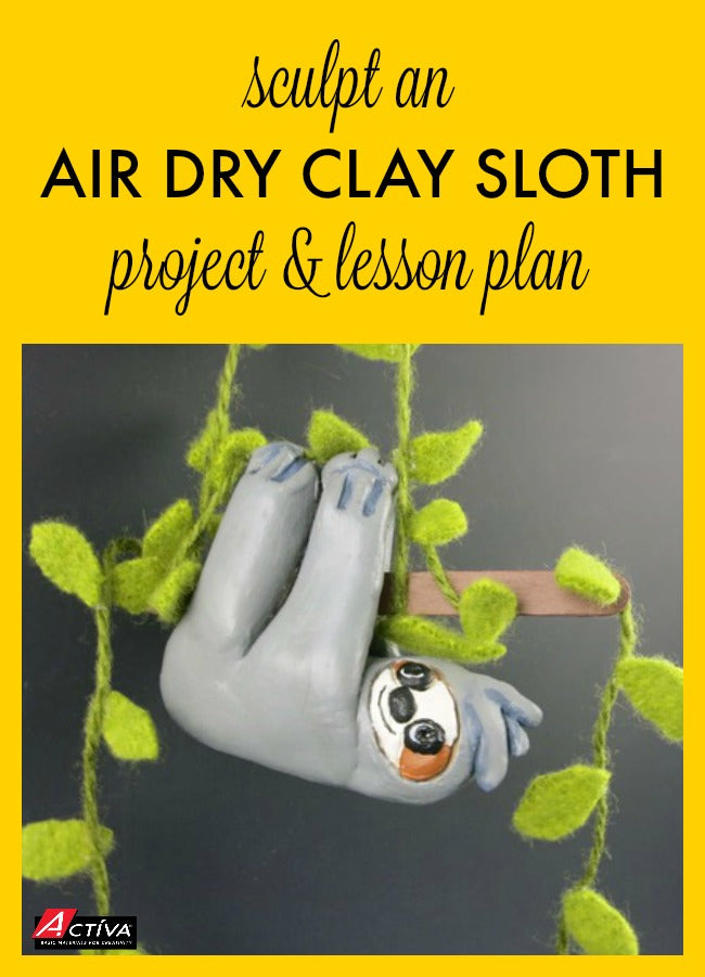 This air dry clay sloth project is too cute!  Learn how to sculpt an air dry clay sloth with this project tutorial.  It's a great intermediate art lesson plan, or a project for kids to do at home!