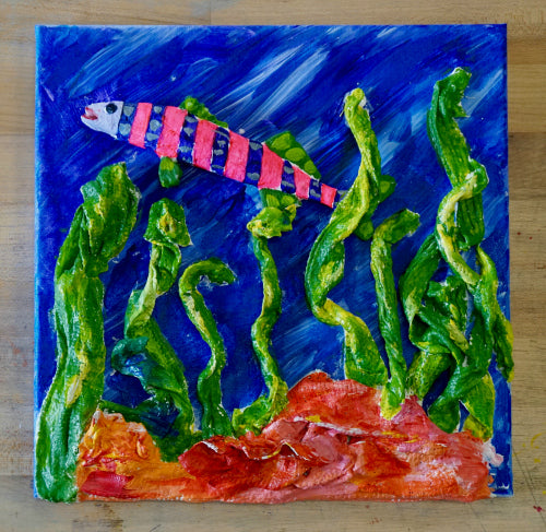 Teacher Amanda Fleischbein created this 3D Under the Sea painting with InstaMold, PermaStone, and Rigid Wrap from <em>ACTÍVA</em> Products.