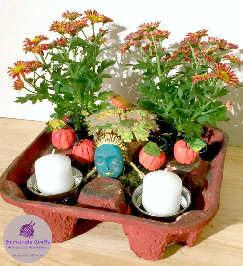 Upcycled Drinks Tray Fall Centerpiece