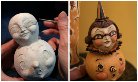 Artist Johanna Parker sculpts original Halloween art with CelluClay.