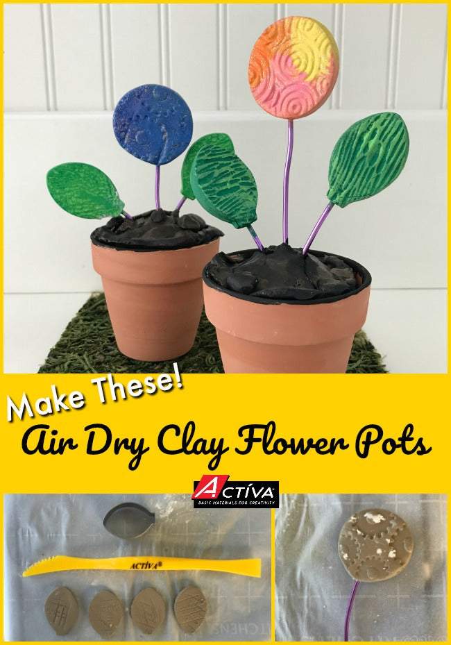 This is the cutest air dry clay craft!  Read this post to learn how to make this air dry clay flower pots craft.  It's a great air dry clay craft for all ages!