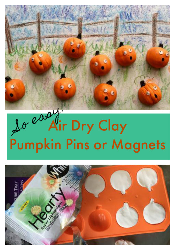 Adorable! Use air dry clay and dollar store ice cube trays to make pumpkin pins or pumpkin magnets! Such a cute fall project for kids!