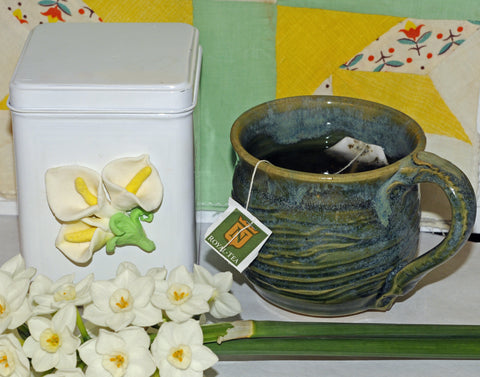 air dry clay lily to decorate tea canister tutorial