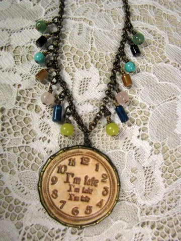 clock pendant necklace clay