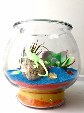side view of the sand terrarium