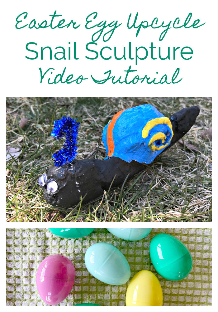 This Easter egg upcycle project is fun for all ages!  This video shows you how to transform plastic Easter eggs into snail sculptures with Rigid Wrap plaster cloth.  Kids love it!