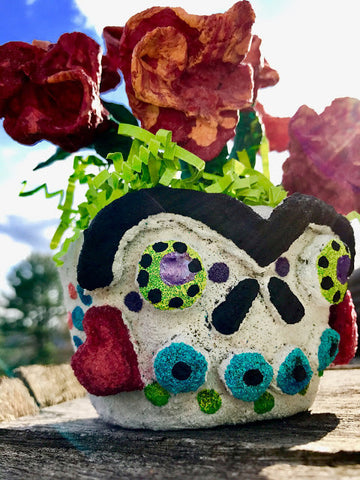 Art teacher Ashley McKee submitted this Floral Frida Sugar Skull Planter as her submission for the <em>ACTÍVA</em> Products Art Teacher Mystery Box Contest.  Click through to see her full lesson plan.