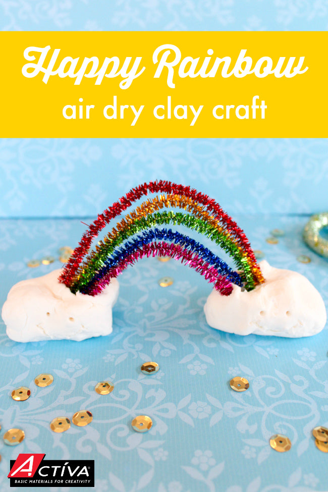 Adorable!  Kids will love making this Happy Rainbow Air Dry Clay Craft.  It's such an easy project, and this video tutorial will show you how to make it!