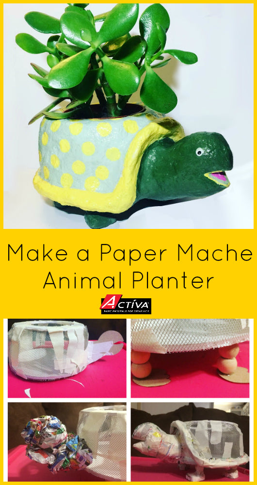 Love this!  Learn how to make a paper mache turtle planter that will make you happy any time you see it!  You can sculpt a turtle or any other animal you want! FastMache from <em>ACTÍVA</em> Products makes it easy.  #papermache #papiermache #diyplanters
