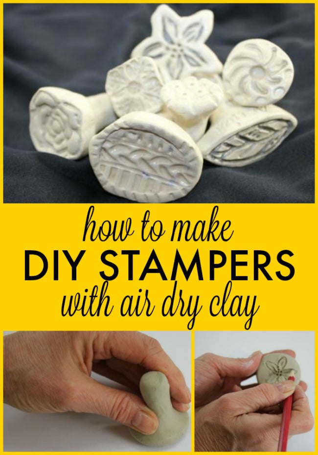 This is awesome! Learn how to make your own stamps or stampers with air dry clay.  The possibilities are endless!
