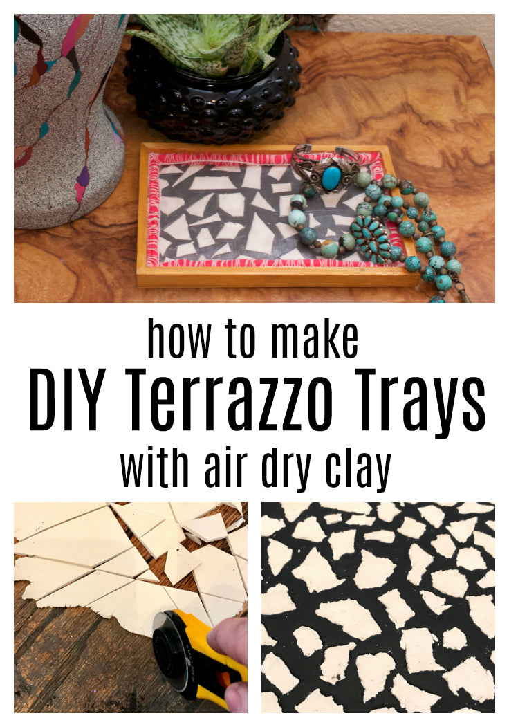 Learn how to make terrazzo trays with air dry clay!  It's easy to get this trendy look on a budget.  #terrazzo  #airdryclay