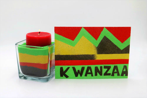 Create a colored sand art board for Kwanzaa with this easy project for all ages.  This Kwanzaa craft project is a great way to teach kids about this special holiday.