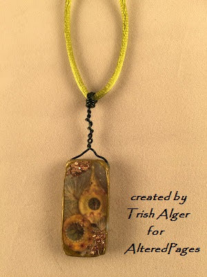Modena soft vintage pendant by trish alger of altered pages actva adding the cord to the polymer clay pendant aloadofball Images