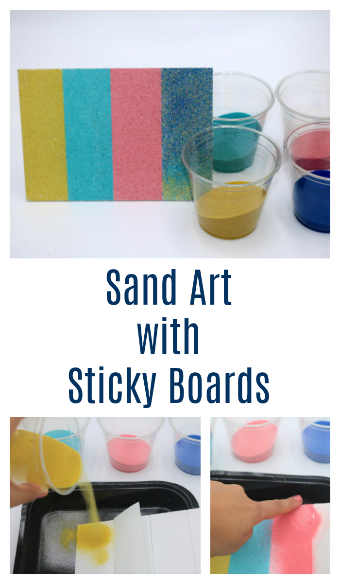 Learn how to create mess-free colored sand art with these adhesive or sticky boards!  This post shows you how to create beautiful sand art in no time.  It's a great craft project for all ages.