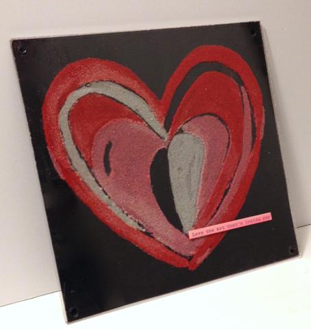 Create a beautiful heart painting for Valentine's Day with colored sand!