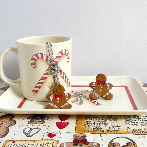 Gingerbread Man Jewelry Set by Katie King of Guidecentr.al