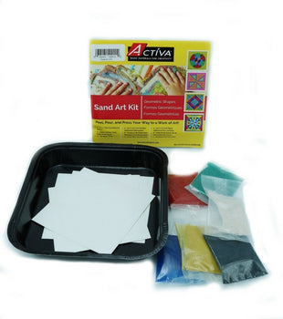 The geometric shapes sand art kit is a fun colored sand art project for all ages.  Simply peel, pour, and press your way to a work of art!