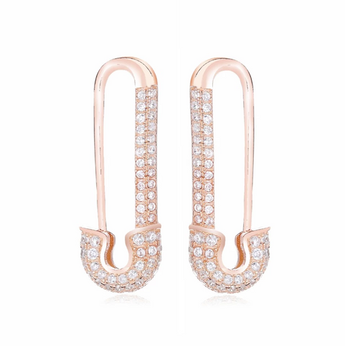 Rose Gold Safety Pin Earring