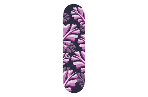 Purple Leaf Patterned Skateboard