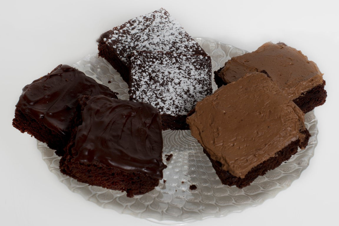 Chocolate Brownies with Ganache, Icing and Icing Sugar