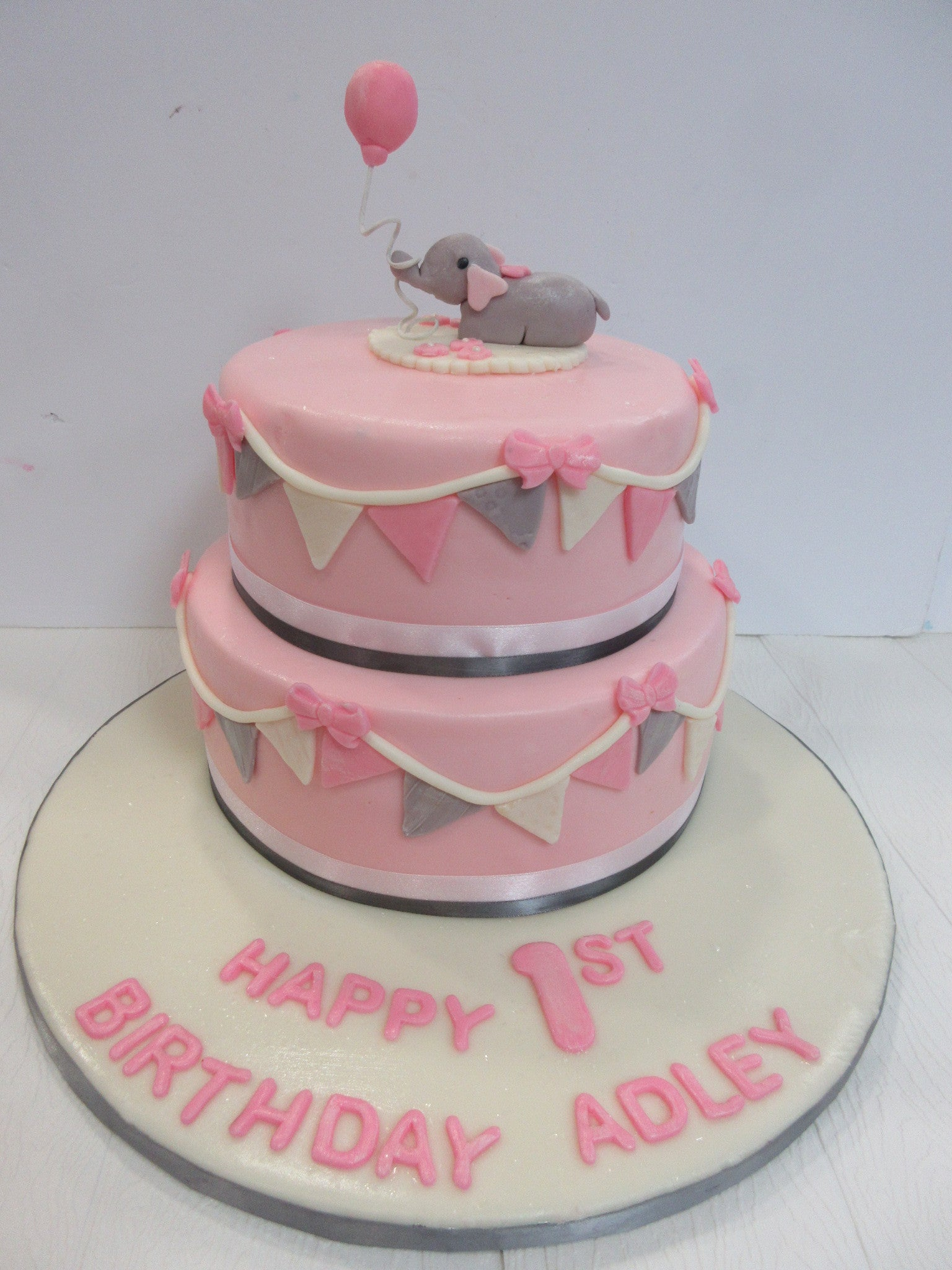 2-tier Fondant Covered First Birthday