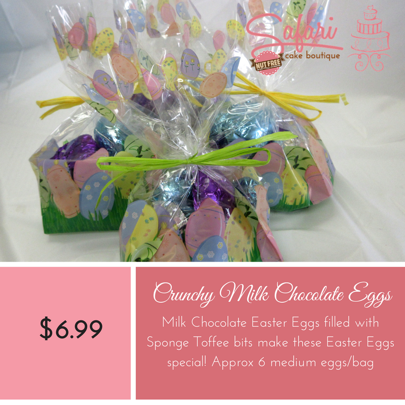 Crunchy Eggs,Chocolate Easter Eggs specially made at Safari Cake Boutique in Kingston. Solid Chocolate foil wrapped eggs in bright colours available in Milk Chocolate. Safari Cake Boutique is Nut Free and Peanut Free Bakery.