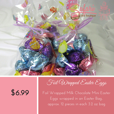 Bag of Chocolate Eggs,Chocolate Easter Eggs specially made at Safari Cake Boutique in Kingston. Solid Chocolate foil wrapped eggs in bright colours available in Milk Chocolate. Safari Cake Boutique is Nut Free and Peanut Free Bakery.