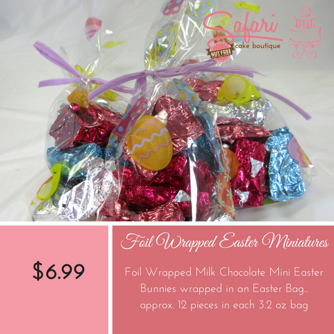 Easter Miniatures,Chocolate Easter Miniature Candy available for order at Safari Cake Boutique in Kingston. Safari Cake Boutique is Nut Free and Peanut Free Bakery. Call us today 613.384.5100