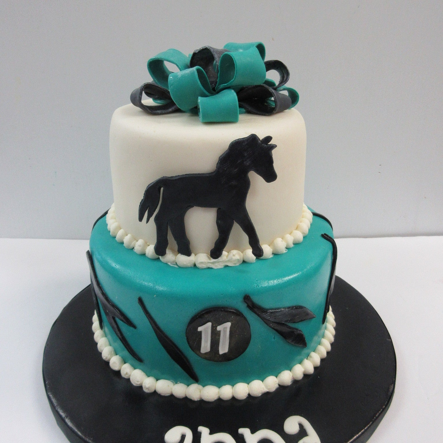 2-tier Horse-themed Fondant Covered Cake
