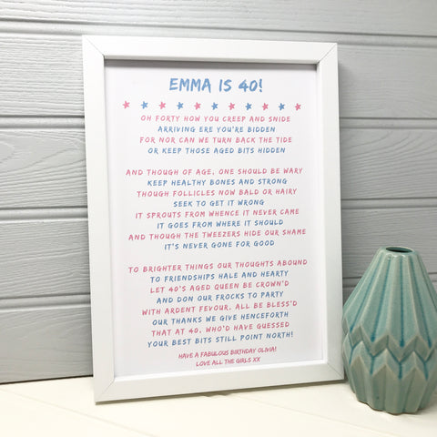 40th Birthday Personalised Poem