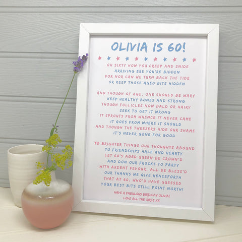 60th Birthday Poem Personalised Print