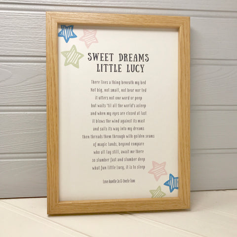 Poem Print for Childs Bedroom