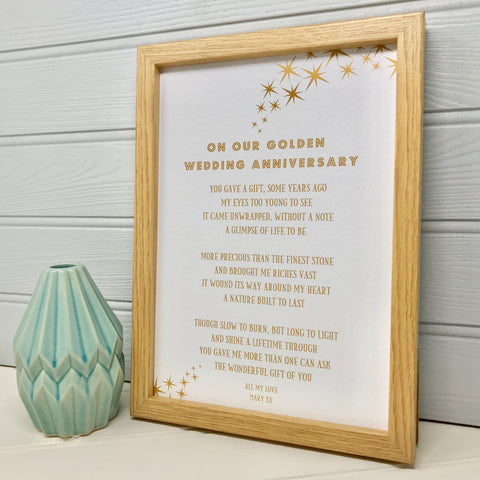 Golden Wedding Anniversary Poem for Husband/Wife