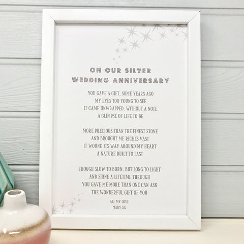 Silver Wedding Anniversary Poem for Husband/Wife