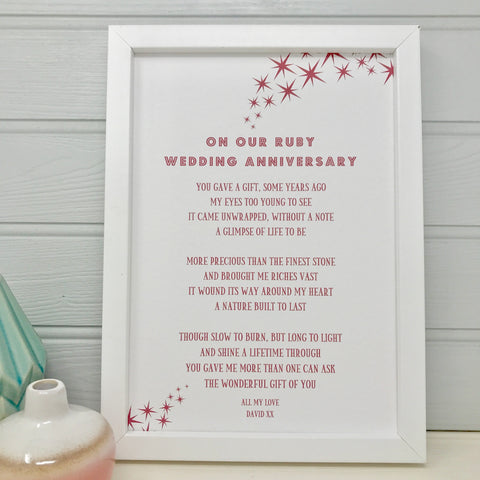 Ruby Wedding Anniversary Poem for Husband/Wife