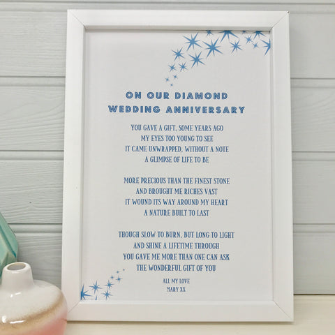 Diamond Wedding Anniversary Poem for Husband/Wife