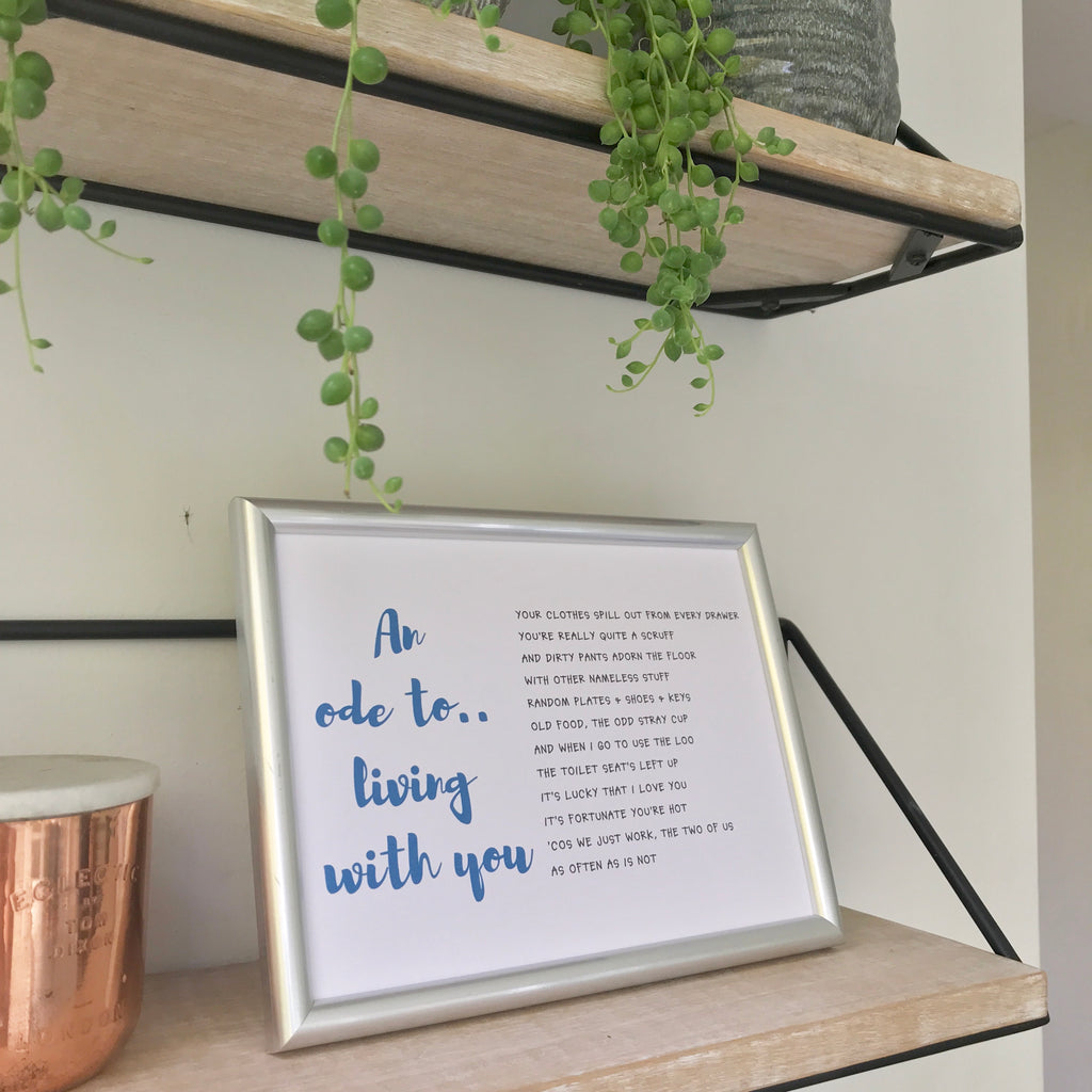 An Ode to Living with You - funny framed poem