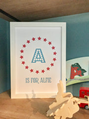 Personalised Child's Name Stars Print