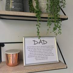 personalised poem for father in a silver frame