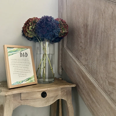 personalised dad poem print in botanical green leaves