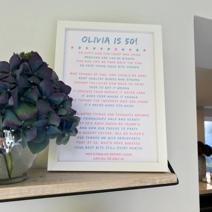 50th Birthday Poem Personalised