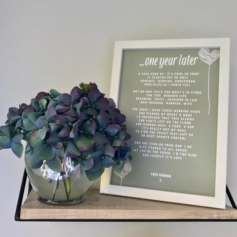 Personalised Paper Anniversary Poem