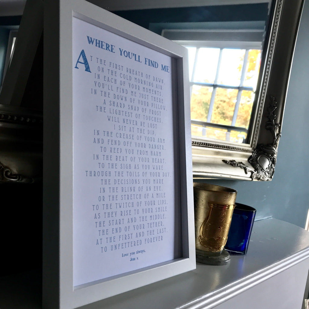 Framed Love Poem (variety of colours available)