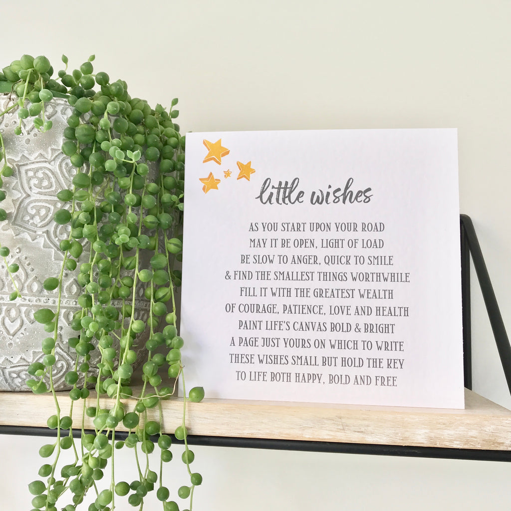 Little Wishes Christening Poem Card (free postage)