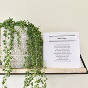 Wedding Print Marriage Poem Card