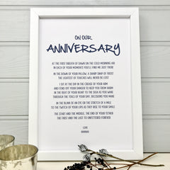 wedding anniversary gift poem for wife or husband in blue font