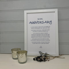 anniversary poem print in a choice of frames